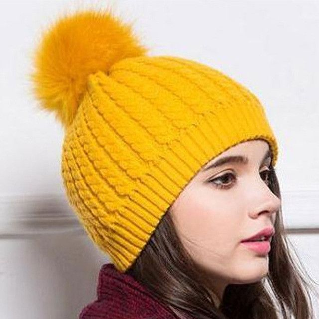 HEE GRAND Winter Fur Pompom Hat Women Cashmere Wool Cotton Sombreros Fur Knitted Beanies Christmas Hat Fur Bobble Hats PMM302   Supernatural Style