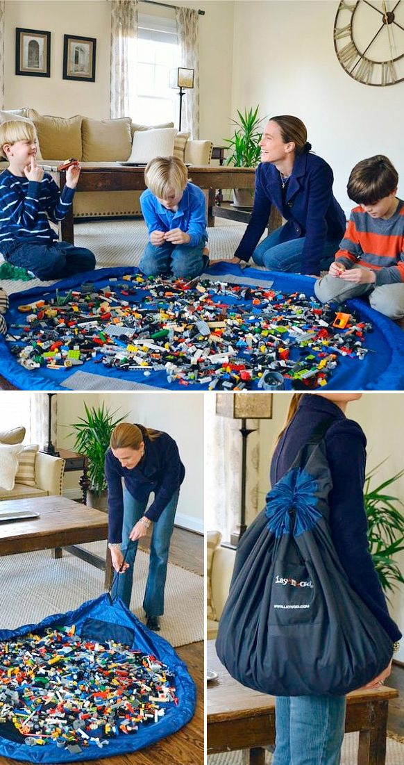 Lay-N-Go play toy mat // perfect for LEGO, simply pull the cord to quickly tidy up all the small pieces, and carry away! Genius! #product_design
