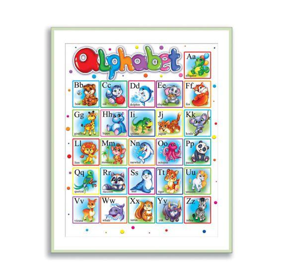 Alphabet Print English ABC Nursery Wall Art Animal Alphabet for Kids Room Decor Children Playroom Wall Decor Animal ABC Baby Nursery Decor by PinwheelCanvasArt