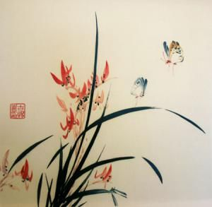 Grass, Orchid & Butterfly *
