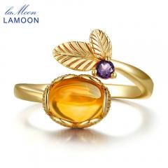 [ 20% OFF ] Lamoo Flower 7Mm 2Ct Natural Oval Citrine 925 Sterling Silver Jewelry Wedding Ring With Rose Gold Plated S925 For Women Lmri015