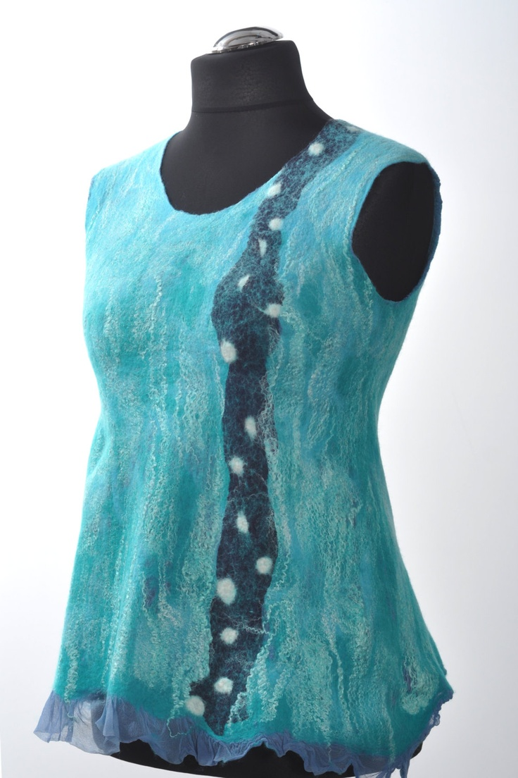 Handmade Nuno felted silk and wool everyday blue by kristaart