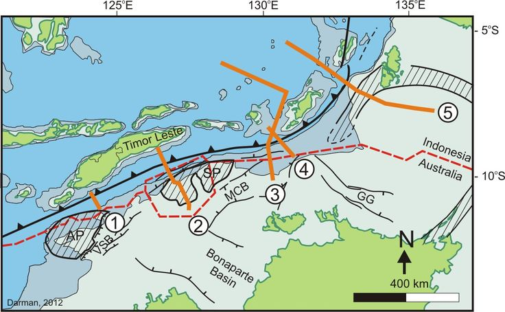 The Timor-Tanimbar Trough is an oceanic trough, which marks the boundary between Indo-Australian Plate's continental shelf and the Timor Plate in the north.  Map of the Timor-Tanimbar Trough showing the location of seismic sections discussed. AP = Ashmore Platform; SP = Sahul Platform; VG = Vulcan Graben; MG = Malita Graben; CG = Calder Graben; GG = Gouburn Graben; MH = Mereuke High; MSP = Money Shoal Platform; BA=Barakan Basin; BB = Bonaparte Basin.