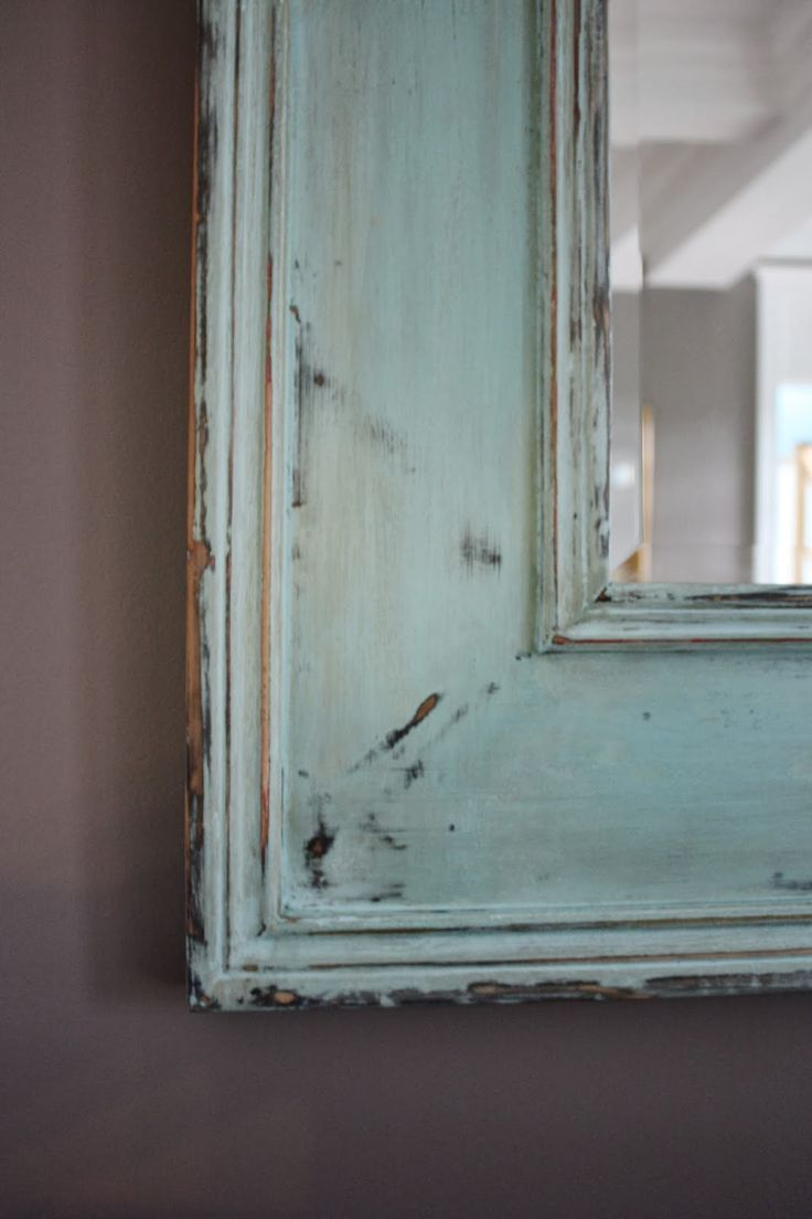 The Yellow Cape Cod: How To Match A Potterybarn Finish~DIY Weathered Turquoise Mirror