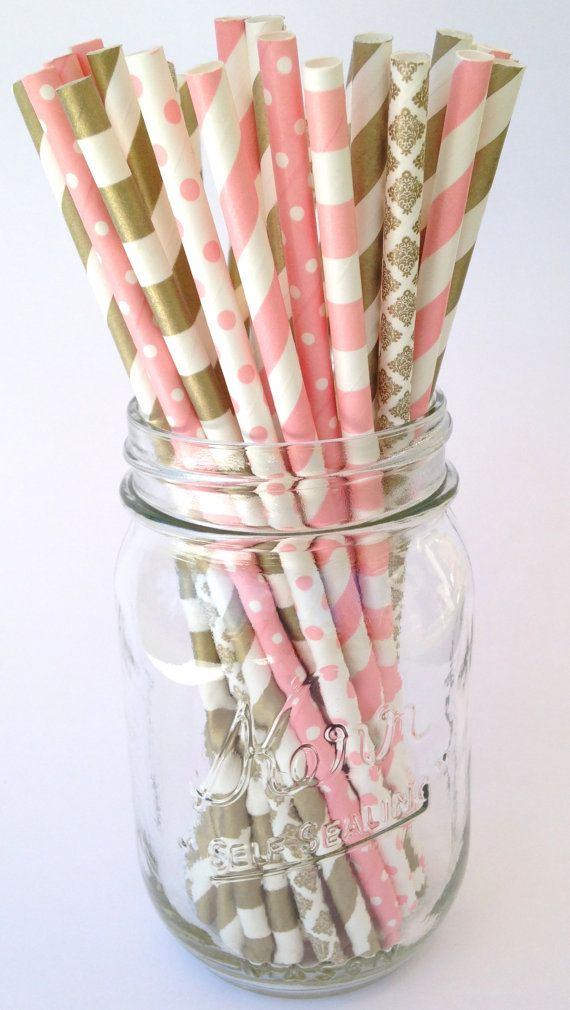 50 Blush Pink, CLASSIC old fashioned wedding decor: Gold, Striped Paper Straws, Shower, Birthday, Bachelorette, Blush Pink Decor, NEW style!