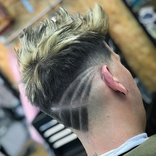 Low Fade + Cool V-Shaped Neckline + Spiked Blonde Hair