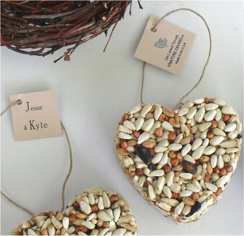 Bird Seed Heart Wedding Favors, Bridal Shower Favors, Centerpiece Favor Decorations (Qty. 50)