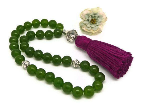 Green Jade tasbih Muslim prayer beads black by AlSafinaShop, $40.50