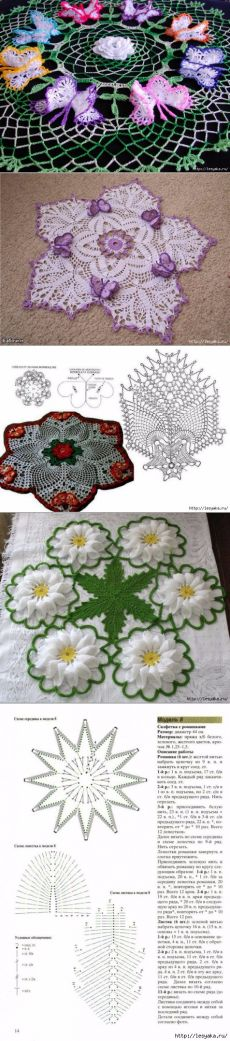 Spectacular knitted napkins with flowers and butterflies OWN HANDS!