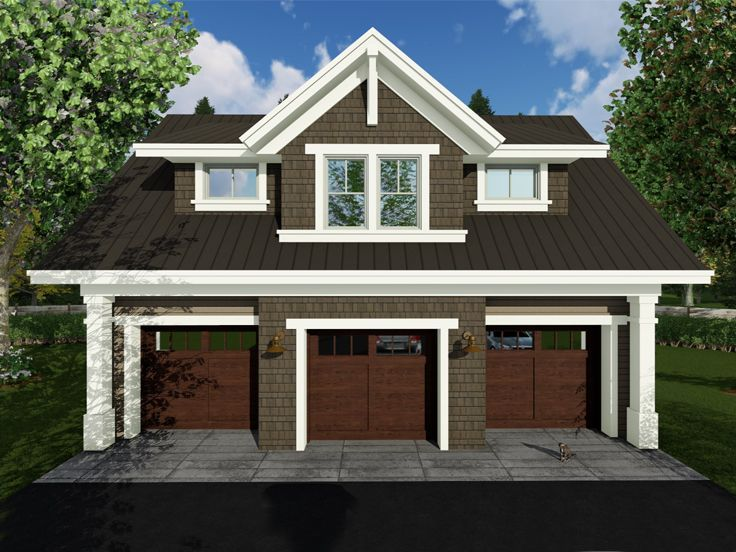 Comforting 3 Car Carriage House Plan 29827rl: Craftsman-Style Carriage House Plan