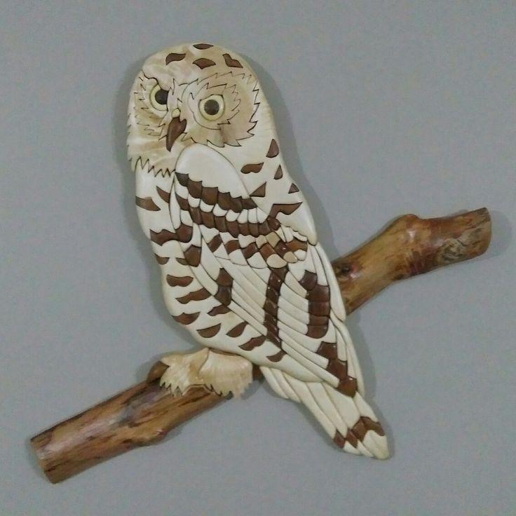 Ahşap kakma baykuş wood intarsia owl