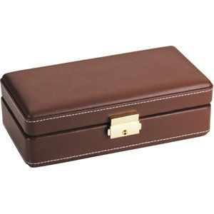 6 CIGAR TRAVEL CASE HUMIDOR 6 Cigar Brown Leather Travel Case Humidor Jewelry Adviser Rings. $54.89