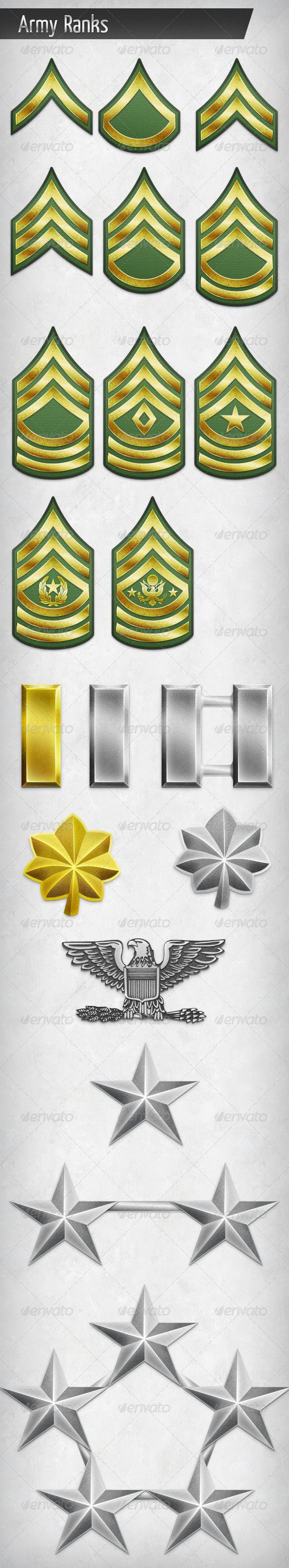 Army Rank Insignias  #GraphicRiver         20 ranks of the US army. Made with Photoshop using vector shapes and layer styles. All elements are editable. Ranks: Private, Private 1st Class, Corporal, Sergeant, Staff Sergeant, Sergeant 1st Class, Master Sergeant, 1st Sergeant, Sergeant Major, Command Sergeant Major, Sergeant Major of the Army, 2nd Lieutenant, 1st Lieutenant, Captain, Major, Lieutenant Colonel, Colonel, Brigadier General, Major General, General of the Army  	 You can see the…