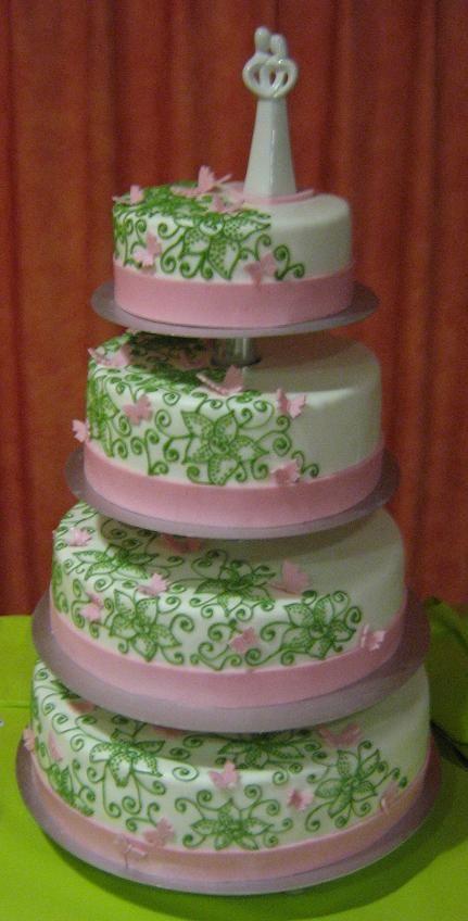 Hochzeitstorte rosa grün
