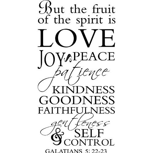 Amazon.com: But The Fruit Of The Spirit Is Love Joy Peace Patience Goodness Kindness Faithfulness Gentleness And Self Control. Galatians 5: 22-23 wall saying vinyl lettering art decal quote sticker home decal: Home & Kitchen