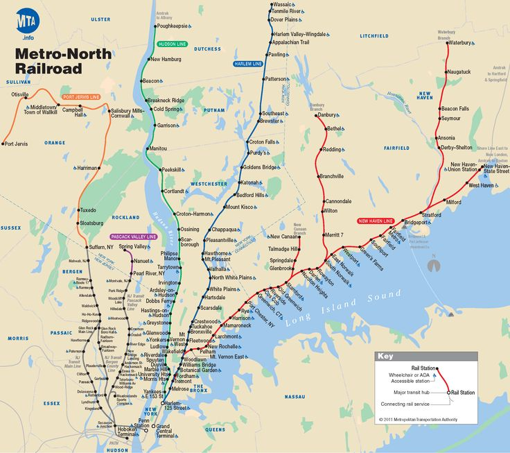 Metro North Railroad Map - train map and website for riding into NYC. It is like $30, service member is free, & parking at their New Haven lot is like $20/day.