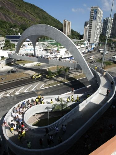 Footbridge in Rocinha, Brazil by Oscar Niemeyer. Click image for link to full profile and visit the slowottawa.ca boards >> http://www.pinterest.com/slowottawa/boards/