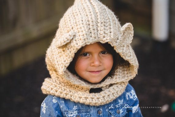 Bear Hooded Cowl Kids Hooded Cowl Kids Winter by TheFuzzyStitch
