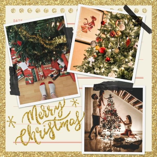 Online Golden Christmas Template Send Personalized Holidaygreetings By Designing Your Own Facebook Post Template Christmas Collage Instagram Post Template