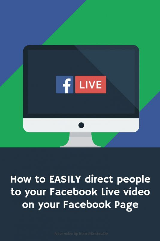 How To Easily Direct People To Your Facebook Live Stream
