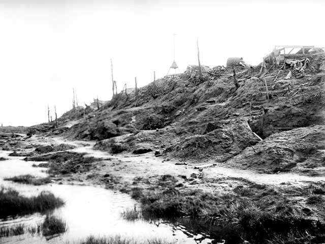 The butte at Polygon Wood captured by the men of the Fifth Division at the Battle of Polygon Wood on 26 September 1917, c.1919. The Fifth Australian Division Memorial sits on the butte today. [AWM J06409]