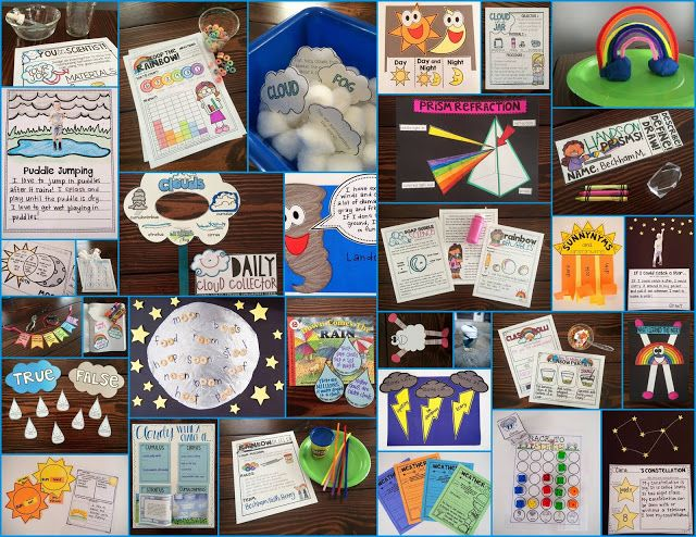 Science of March! 4 weeks of thematic science, covering rainbows/colors, clouds, spring weather, and sun/moon/stars. Perfect for kindergarten and 1st grade