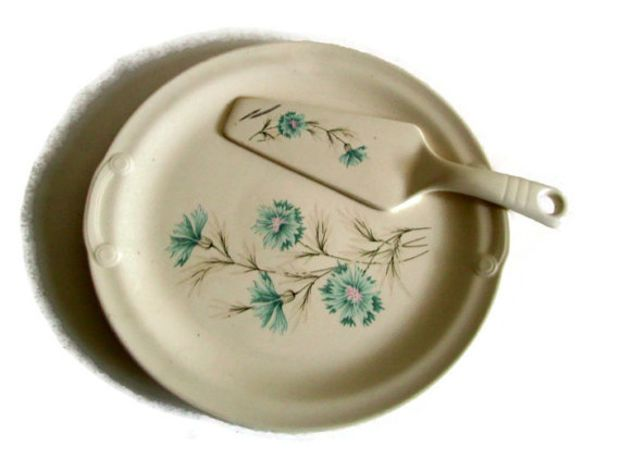 $53 - Mid Century, Taylor Smith Taylor, TST, Vintage China, Cake Plate and Server, Ever Yours Boutonniere, Blue Pink Tan White, Mid Century, Retro