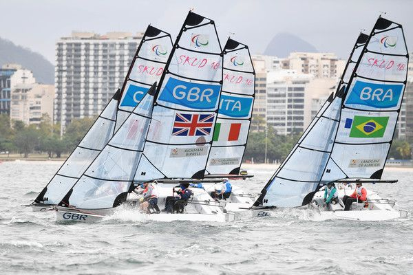 Team Great Britain, Team Brazil and team Italy compete in 2-Person Keelboat (SKUD18) on day 9 of the Rio 2016 Paralympic Games at Marina da Gloria on September 16, 2016 in Rio de Janeiro, Brazil.