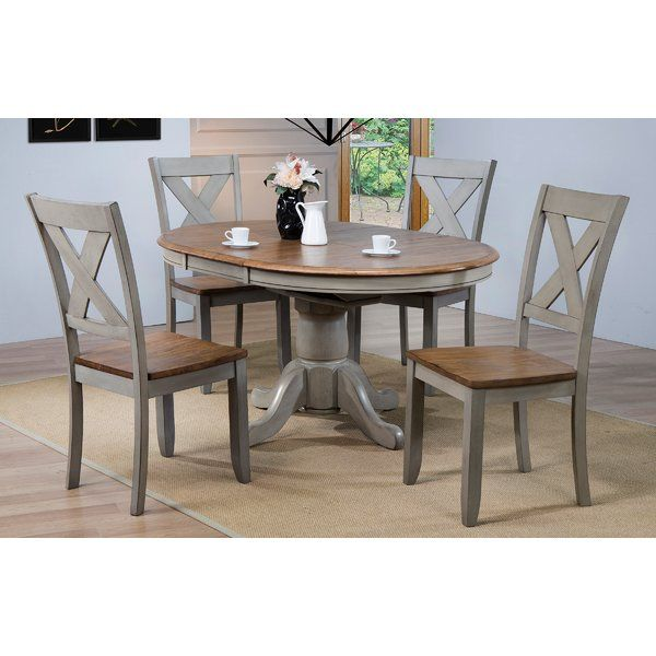 Wonderly 5 Piece Extendable Dining Set Pedestal Dining Table