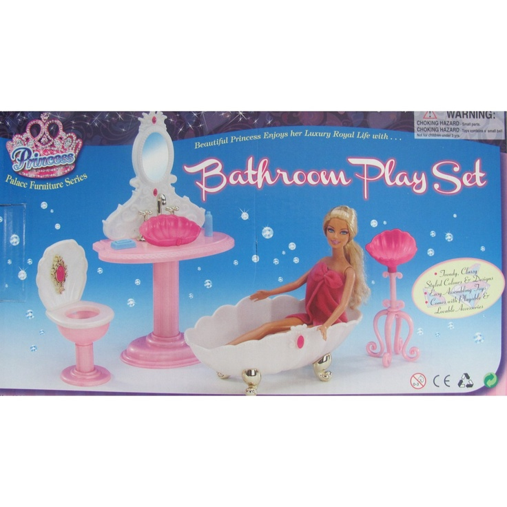 barbie bathroom cleaning games size dollhouse furniture blue sea 10416