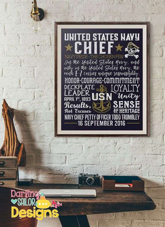 United States Navy Chief Print  Chief Petty Officer  E7