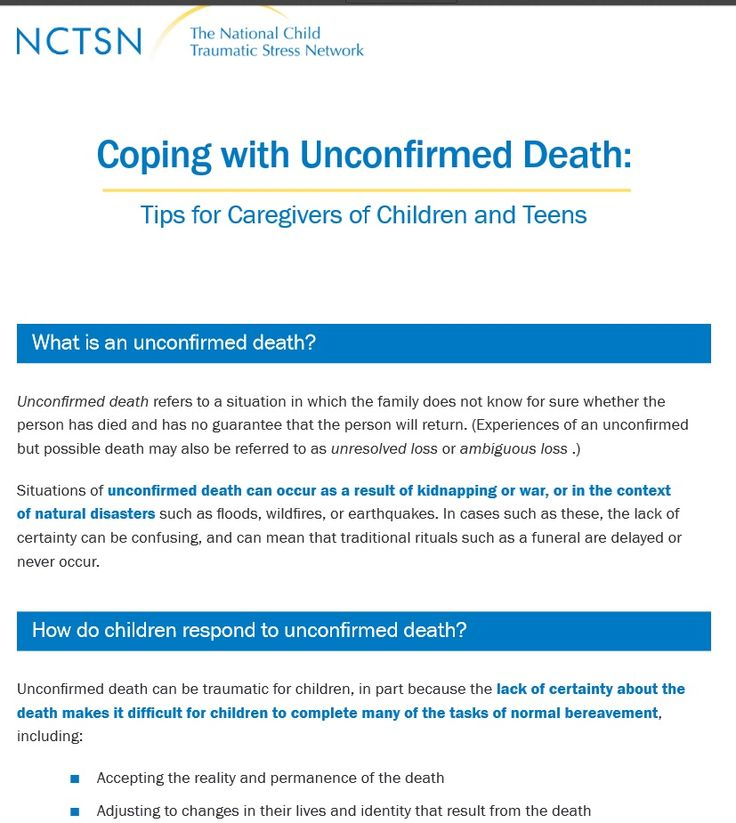 Coping with Unconfirmed Death -Tips for Caregivers