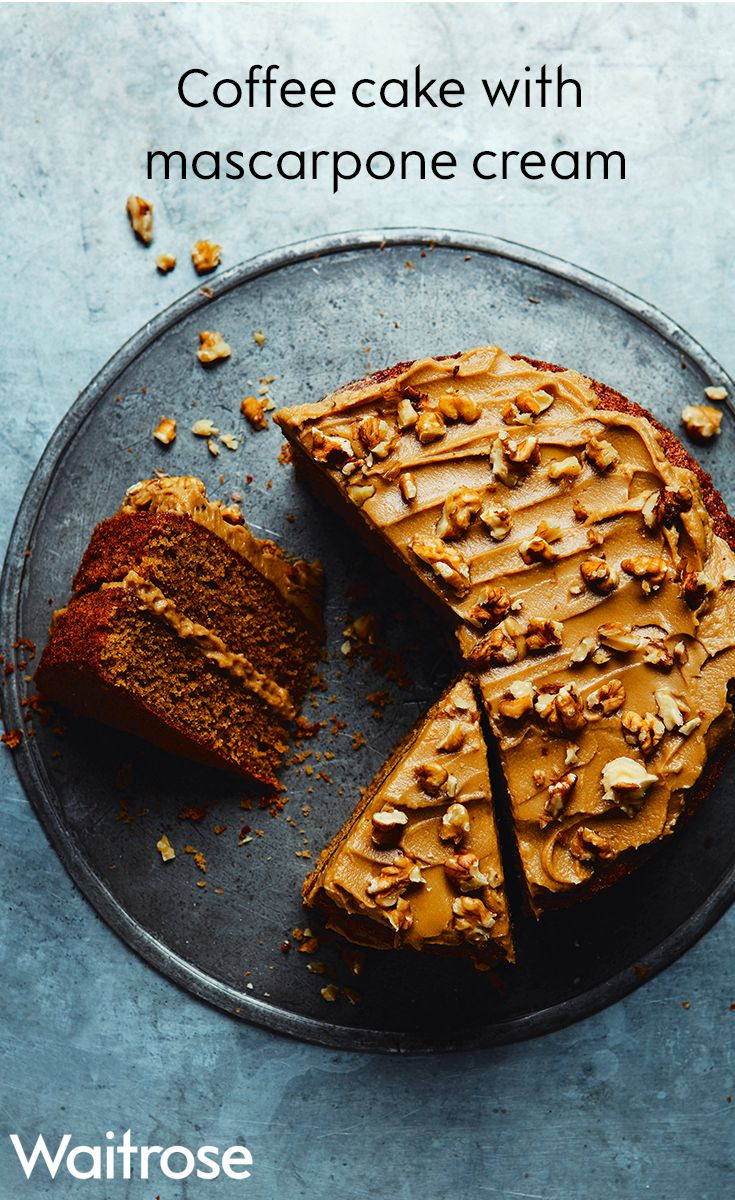 Light and fluffy coffee sponge sandwiched together with buttery mascarpone cream. Sprinkle walnuts to finish and serve with a warming cuppa. To see this recipe and many more, see the Waitrose website.