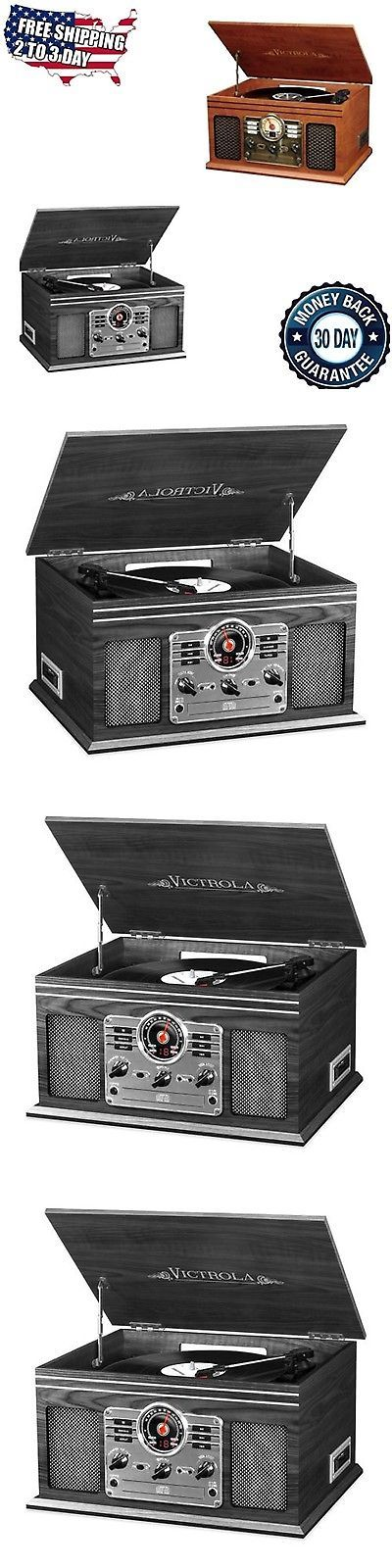 Home Audio: New Vintage Record Player With Speakers Vinyl Turntable Radio Cassette Cd Player BUY IT NOW ONLY: $101.5