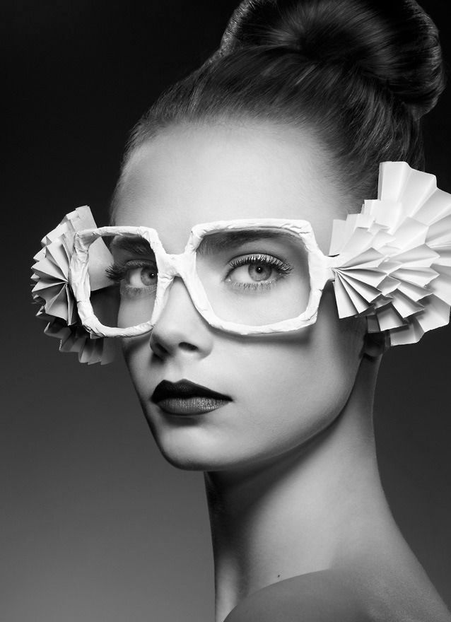 Eyeware: Fashion Photography Cara Delevingne. Love the funky eyeware made from paper!