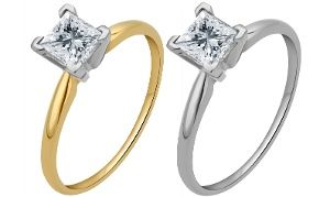 Groupon - 1.00 CTW Certified Diamond Solitaire Rings in 14K Gold; Size 7 in [missing {{location}} value]. Groupon deal price: C$1,299.99
