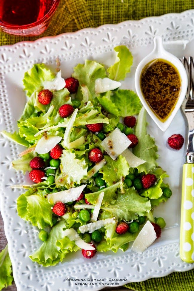 Apron and Sneakers - Cooking & Traveling in Italy and Beyond: Peas and Wild Strawberry Salad with Elderberry Vinaigrette