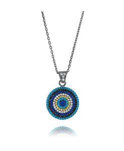 comprar semi joias online olho grego com zirconias e banho de rodio negro