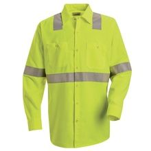 Red Kap Hi-Visibility Green Long Sleeve Work Shirt - Class 2 Level 2 - SS14HV | Hi Vis Safety Direct will beat any other price , we are #1 in Hi Visibility Items .