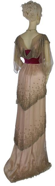 Evening dress, embroidered silk net with metal thread, crystal and silver bugle beads over satin, velvet, boned, lined, Worth, 1910