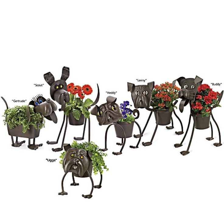 Metal Dog Planters Randomness Pinterest