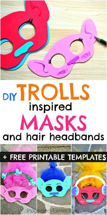 DIY Trolls Inspired Masks and Hair Headbands + FREE Printable Mask Templates!