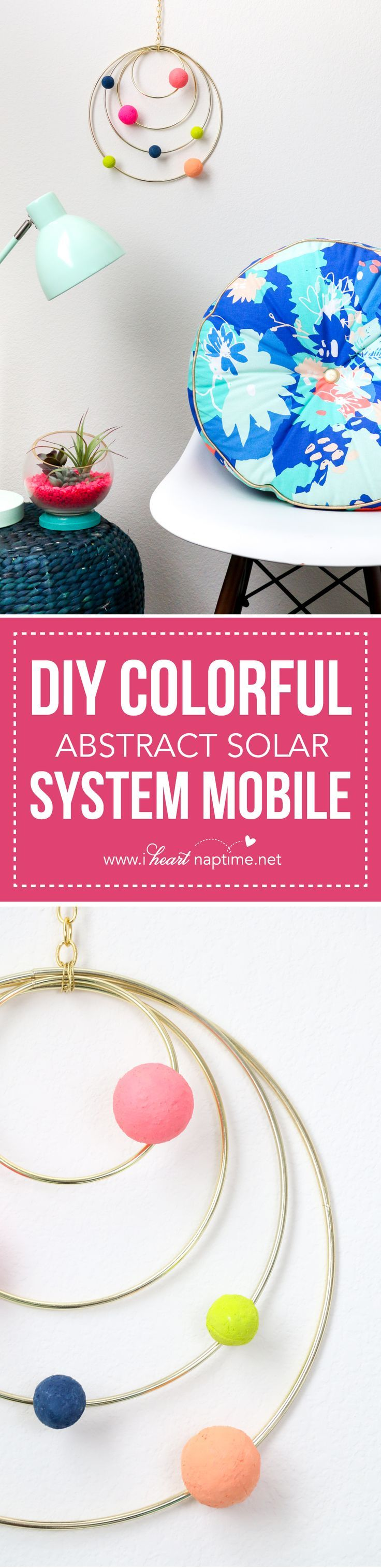 DIY Colorful Abstract Solar System Mobile... a colorful addition to any room! A perfectly fun DIY for anyone!