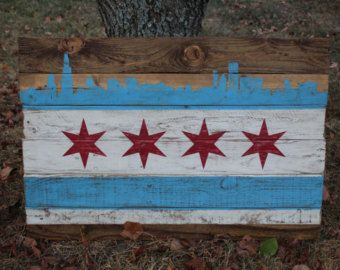 Chicago flag with Chicago Skyline Hand Painted on by TheScarletOak