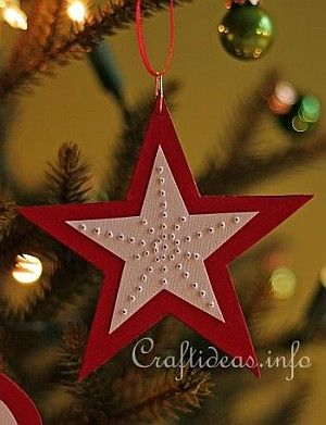Needle Punched Red Star Paper Ornament 2