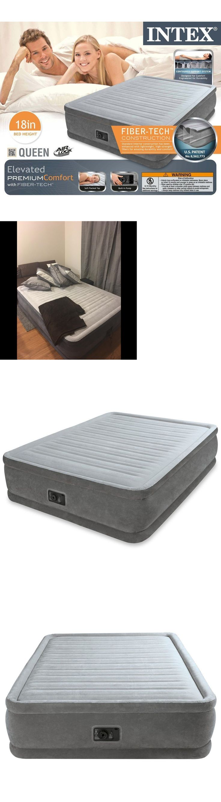 Inflatable Mattresses Airbeds 131598: Queen Size Air Bed Mattress Intex 18  Built-In Electric