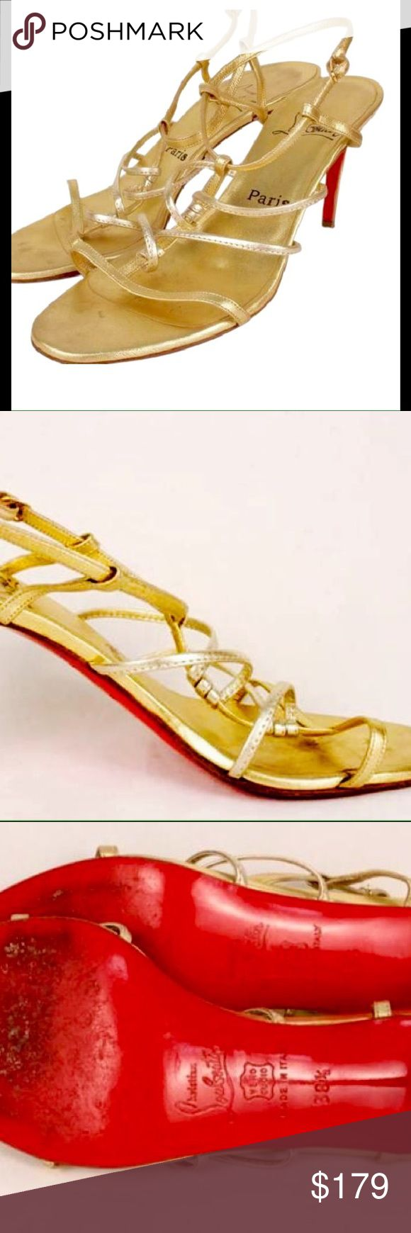 Christian louboutin gold Strappy sandals Christian louboutin Gold Strappy sandals in good condition size 8.retails for 695 Christian Louboutin Shoes Heels