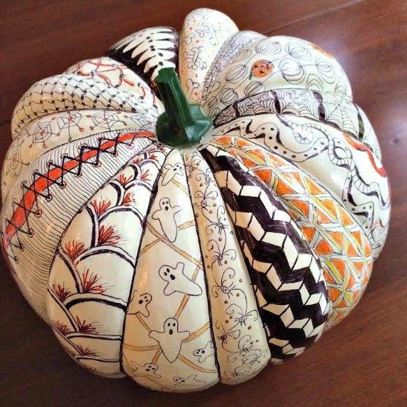 Tangled Halloween Pumpkin created by Caroline Moore of Tangadoodle.com :  Zentangle Pumpkin - Zentangle - Halloween Craft
