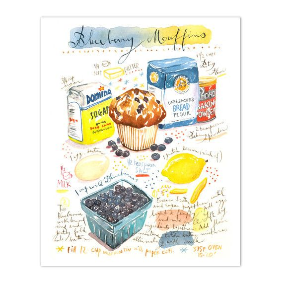 "Blueberry muffin recipe print. Archival giclee reproduction print from watercolor illustration. Signed with pencil. Printed on fine art "" BFK Rives "" hot-pressed paper, smooth surface, 140 lb, 100% co"
