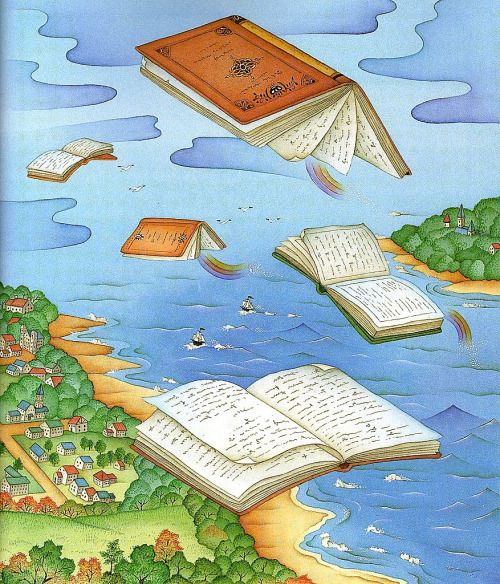 Flying books looking readers / Vuelan los libros buscando lectores (ilustración de Chi Chung)